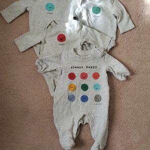 bundle of baby gap newborn emoji onesies